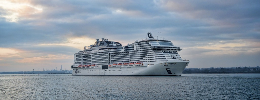01 March 2019, MSC Bellissima arrives at Southampton to be christened