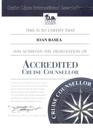 CLIA - Accredited Cruise Counsellor - Ioan Basea